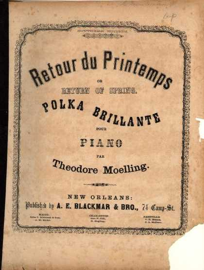Sheet Music - Retour du printemps or Return of spring; Polka brillante