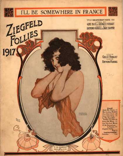 Sheet Music - I'll be somewhere in France; Ziegfeld follies 1917