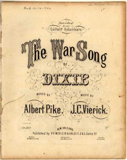 Sheet Music - The war song of Dixie; Southrons, hear your country call you; Op. 562