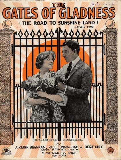 Sheet Music - The gates of gladness; The road to sunshine land