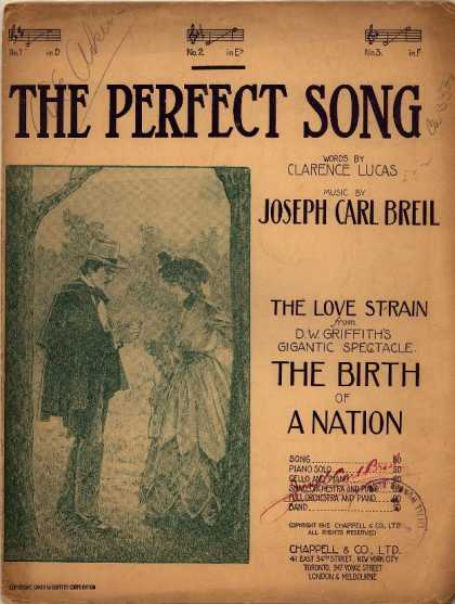 Sheet Music - Perfect song; Love strain from D.W. Griffith's gigantic spectacle the Birth of a