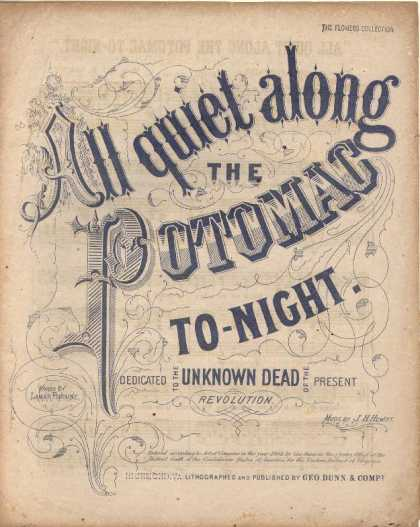 Sheet Music - All quiet along the Potomac to-night
