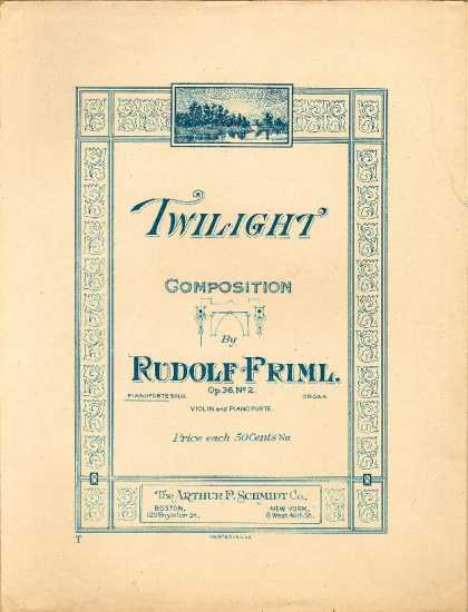 Sheet Music - Twilight; Crepuscule; Op. 36, no. 2