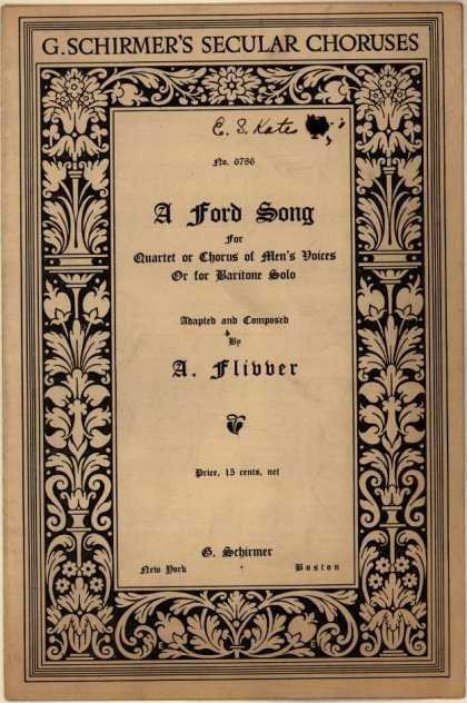 Sheet Music - A Ford song