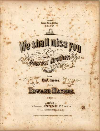 Sheet Music - We shall miss you dearest brother