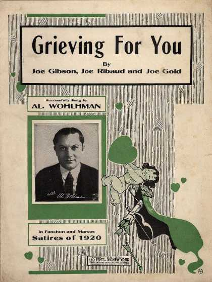 Sheet Music - Grieving for you; Satires of 1920