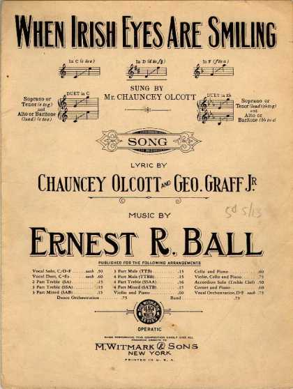 Sheet Music - When Irish eyes are smiling