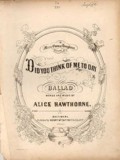 Sheet Music - Did you think of me to day!