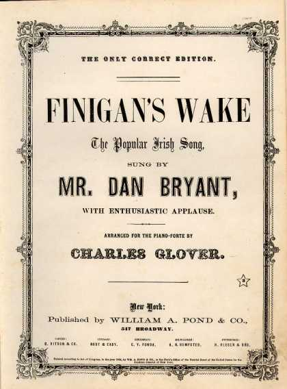 Sheet Music - Finigan's wake; Popular Irish song