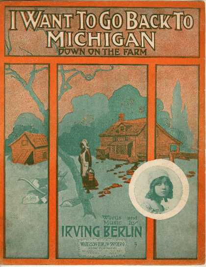 Sheet Music - I want to go back to Michigan; Down on the farm
