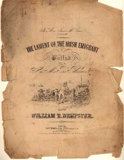 Sheet Music - The lament of the Irish emigrant