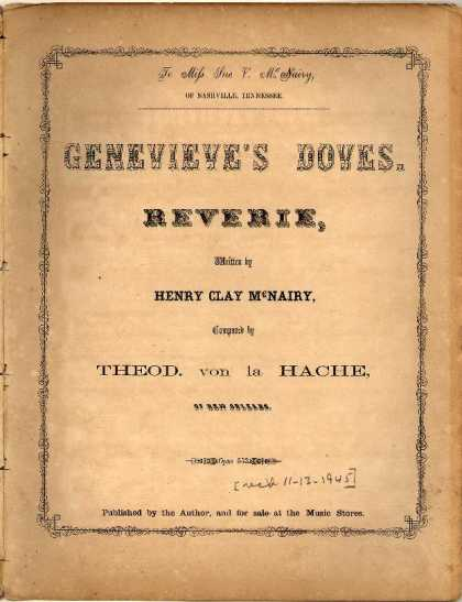 Sheet Music - Genevieve's doves: Reverie