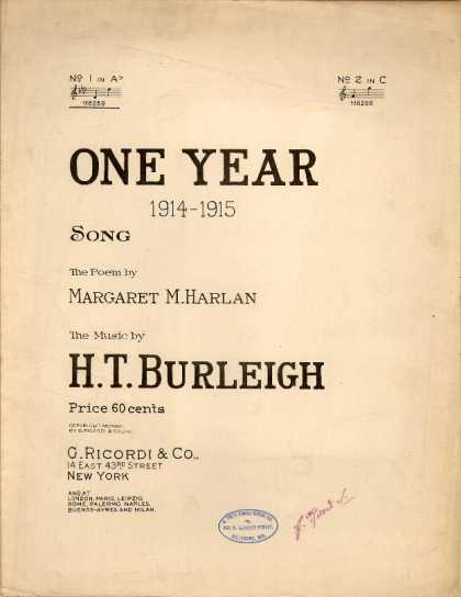 Sheet Music - One year 1914-1915
