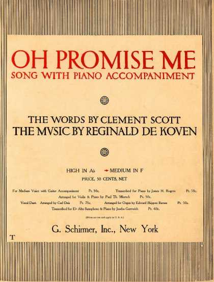 Sheet Music - Oh promise me; op. 50