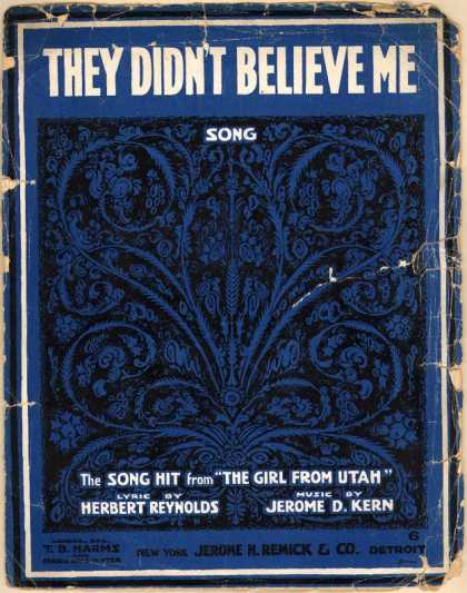 Sheet Music - They didn't believe me; Girl from Utah