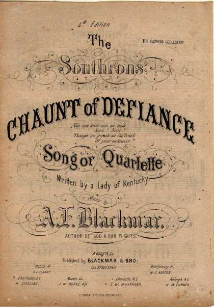 Sheet Music - The Southrons' Chaunt of defiance