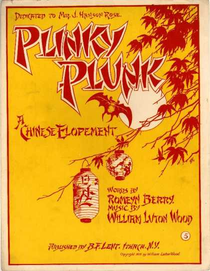 Sheet Music - Plinky plunk; Chinese elopement