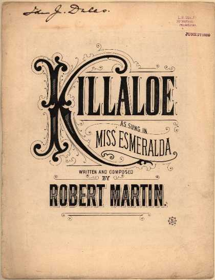Sheet Music - Killaloe; Miss Esmeralda