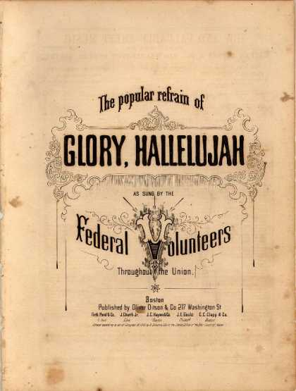 Sheet Music - Glory, hallelujah; The popular refrain of Glory, hallelujah; [Battle hymn of the