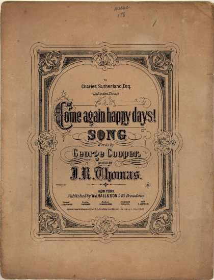 Sheet Music - Come again happy days!