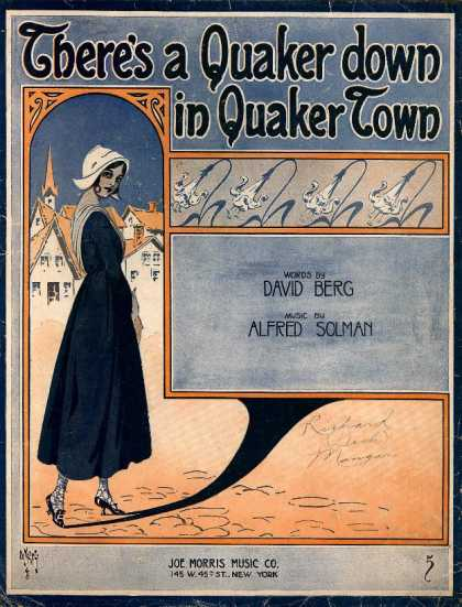 Sheet Music - There's a Quaker down in Quaker town