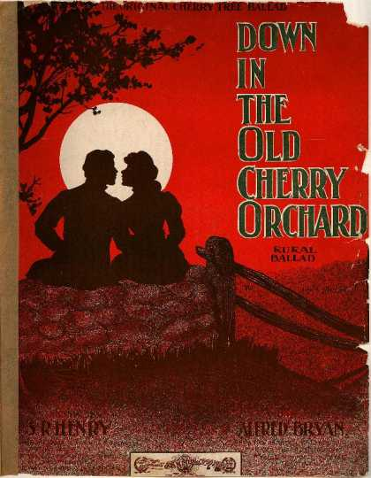 Sheet Music - Down in the old cherry orchard; Rural ballad