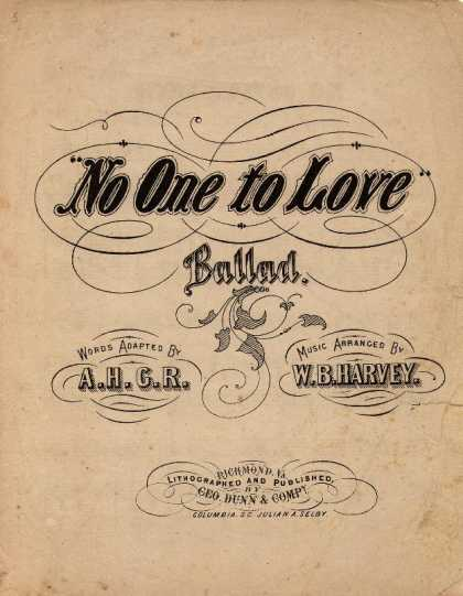 Sheet Music - No one to love: Ballad