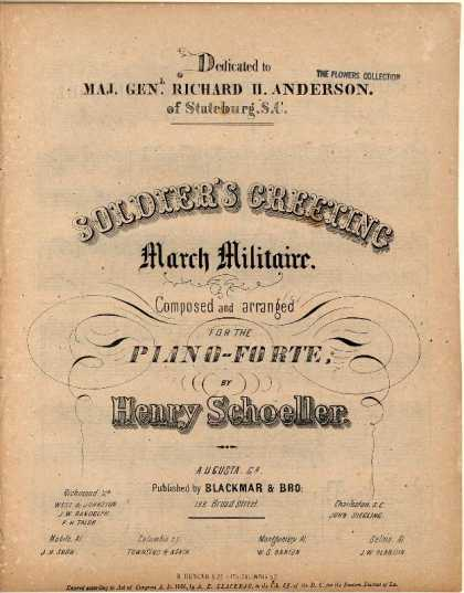 Sheet Music - Soldier's greeting; March militaire