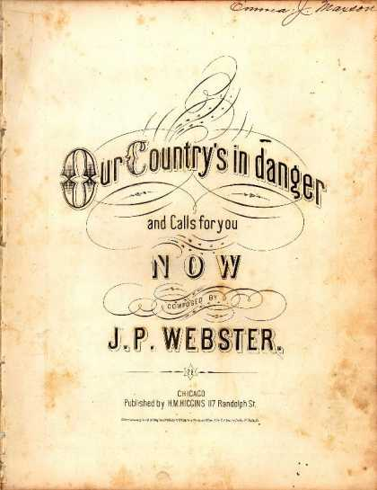 Sheet Music - Our country's in danger and calls for you now