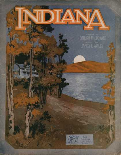 Sheet Music - Indiana; On the banks of the Wabash