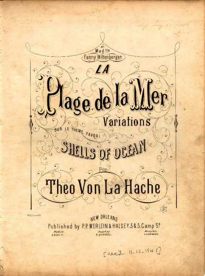 Sheet Music - La plage de la mer; Variations sur le theme favori Shells of ocean; Morceau de s