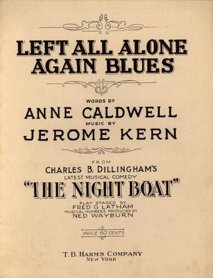 Sheet Music - Left all alone again blues; Night boat