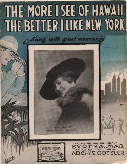 Sheet Music - The more I see of Hawaii the better I like New York