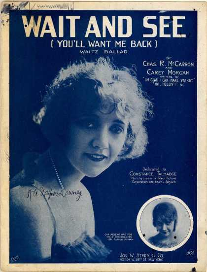Sheet Music - Wait and see; You'll want me back; Attends voir