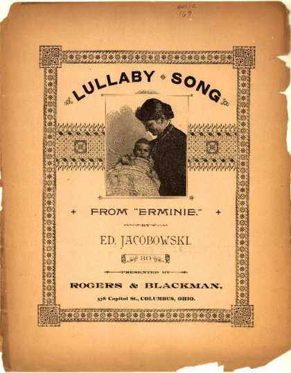 Sheet Music - Lullaby song; Erminie