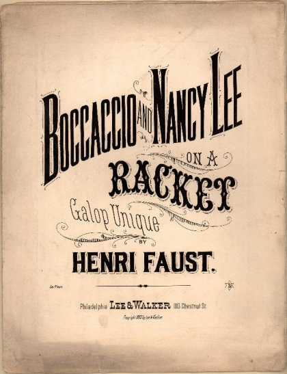 Sheet Music - Boccaccio and Nancy Lee on a racket; Galop unique