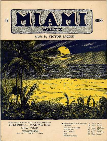 Sheet Music - On Miami shore waltz; Golden sands of Miami