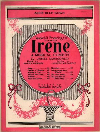 Sheet Music - Alice blue gown; Irene