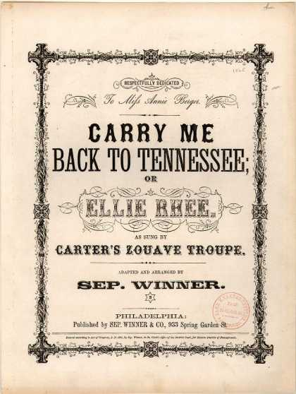 Sheet Music - Carry me back to Tennessee; Ellie Rhee