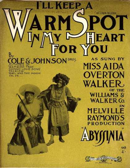 Sheet Music - I'll keep a wam spot in my heart for you; Abyssinia