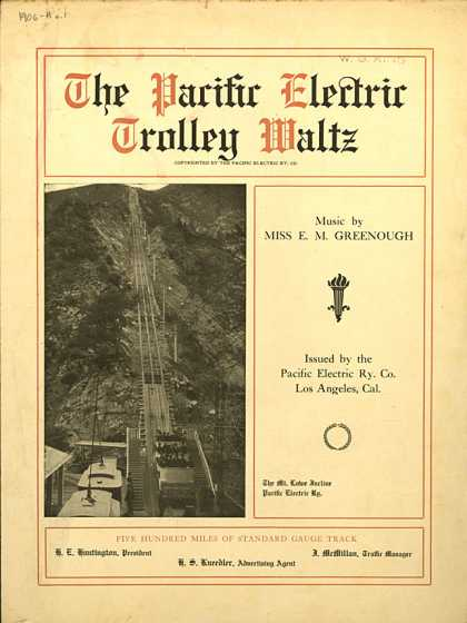 Sheet Music - The Pacific Electric Trolley waltz