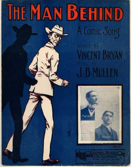 Sheet Music - Man behind; Comic song