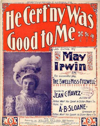 Sheet Music - He cert'ny was good to me; The swell Miss Fitzwell