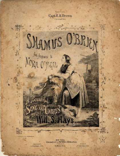 Sheet Music - Shamus O'Brien; Answer to Nora O'Neal