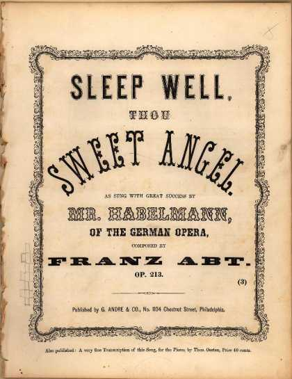 Sheet Music - Sleep well thou sweet angel; op. 213; Schlaf wohl, dususser Engel du