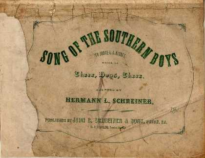 Sheet Music - Song of the southern boys; Cheer, boys, cheer