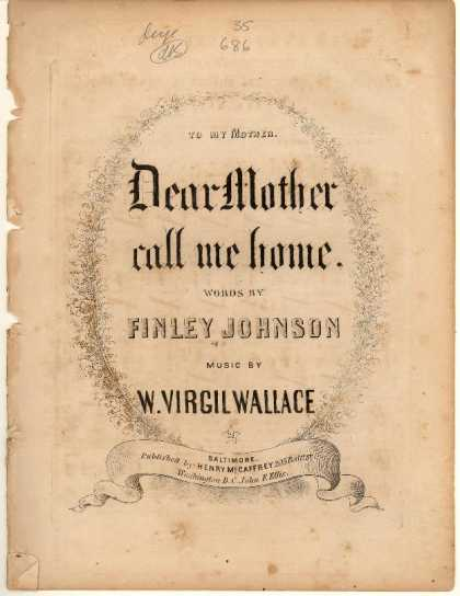 Sheet Music - Dear mother call me home