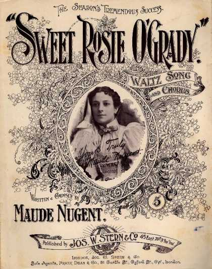 Sheet Music - Sweet Rosie O'Grady; Waltz song and chorus