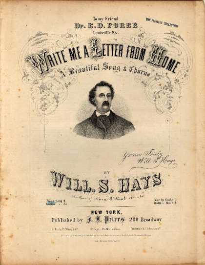Sheet Music - Write me a letter from home