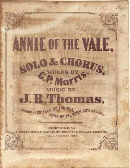 Sheet Music - Annie of the vale